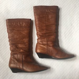 Aldo Cognac Slouch Wedge Boots Size 7.5